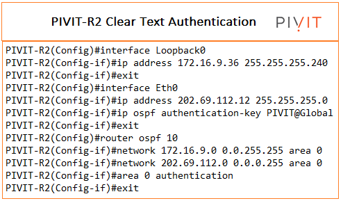 clear text 2 authentication configuration commands from pivit global