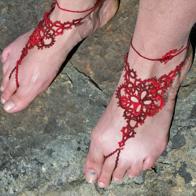 Finished barefoot sandals on feet