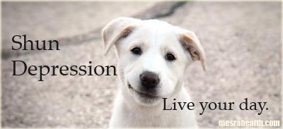 Photo of a cute dog. Text: Shun Depression, Live Your Day.