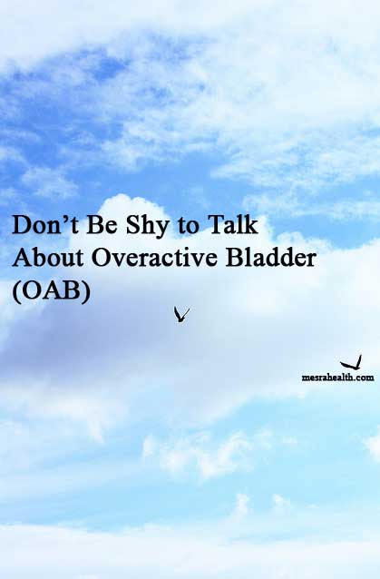 Birds flying in the sky. Text: Don't Be Shy to Talk About Overactive Bladder (OAB)