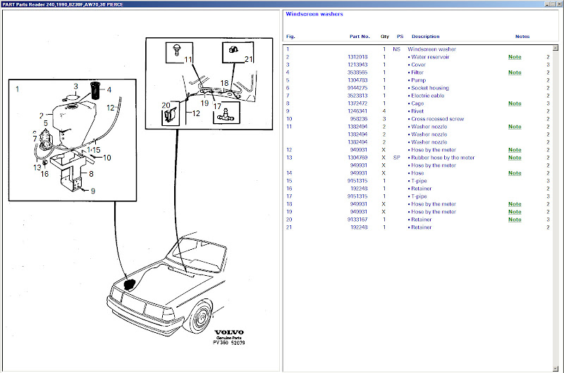 volvo windshield washer diagram  volvo  auto parts catalog