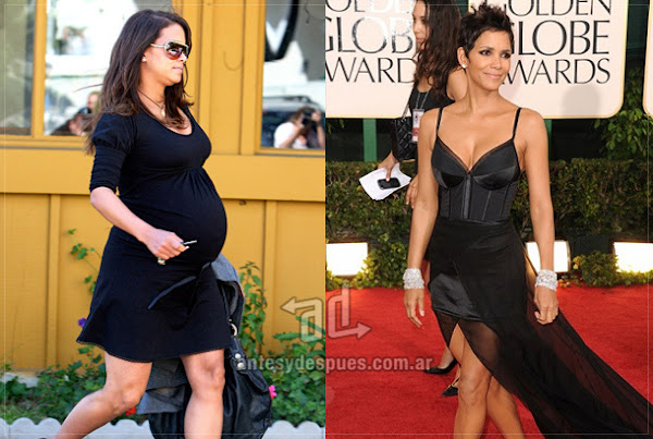 Before and after of Halle-Berry embarazada
