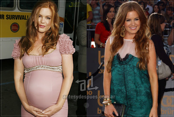 Before and after of Isla-Fisher embarazada