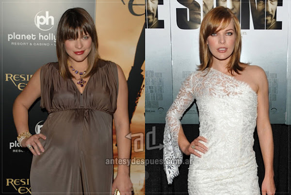 Before and after of Milla-Jovovich embarazada