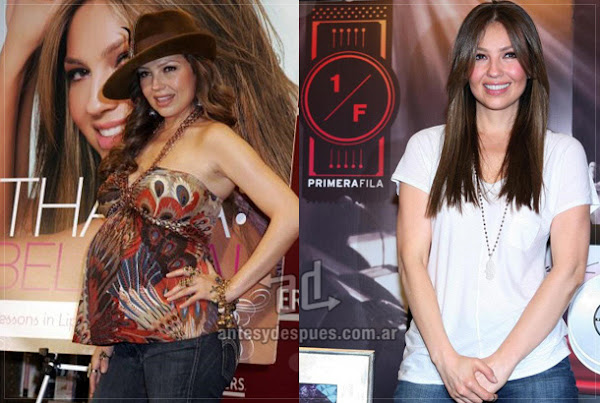 Before and after of Thalia embarazada