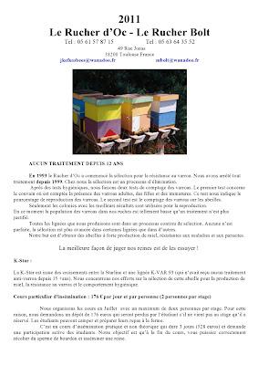 tarifs reines abeilles 2011 john kefuss le rucher d oc  -  1ere partie