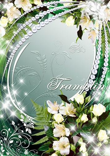 Цветочная рамка – Жемчуг, лилии и розы