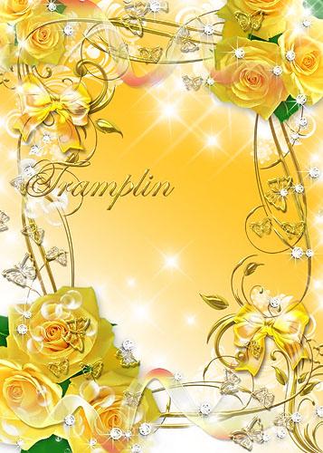 Цветочная рамка  - Розы нежность в венки заплела