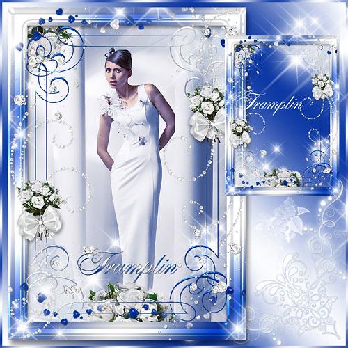Рамка для фото – Голубая с розами