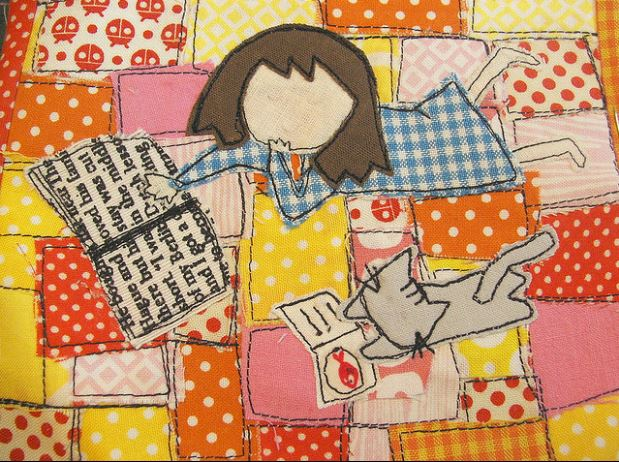 Colorful Quilt of Girl with Cat and Book