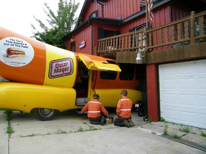 Oscar Mayer Wienermobile loses control, crashes into Racine home