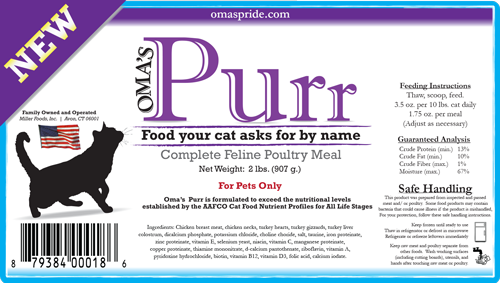 Oma's Purr-Complete Feline Poultry Meal, 2 lbs.
