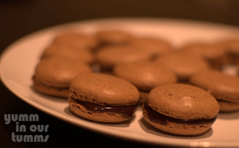 Mocha macarons with chocolate ganache filling