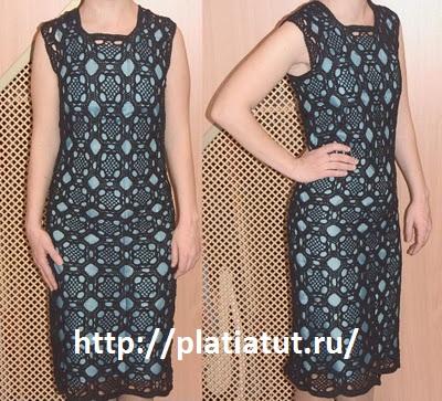 Вязаное платье крючком с описание и схемой