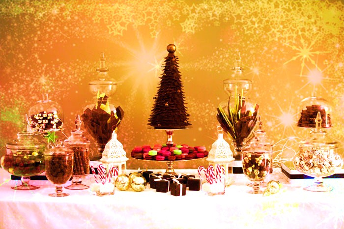 Chocolate Christmas Candy Table