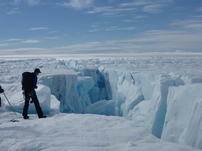 disintegrating ice sheets in greenland.