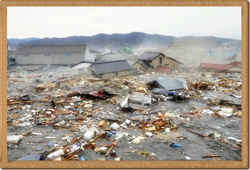 Tsunami tidal waves in Kesennuma in Miyagi Prefecture