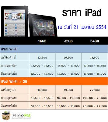 ราคา iPad 21 เมษายน 2554