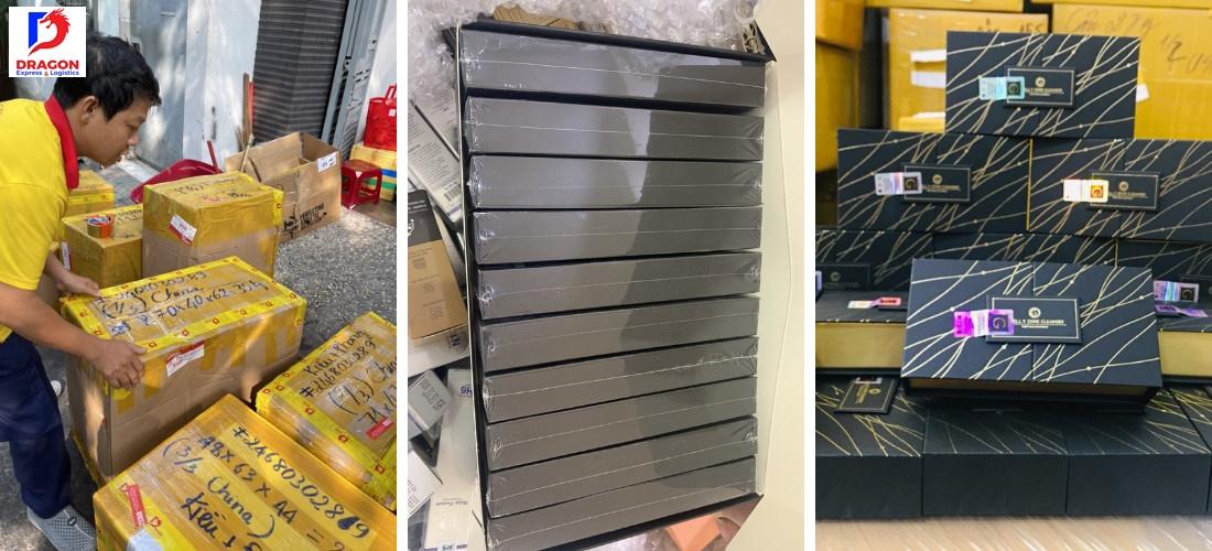 Hàng được đóng gói trong thùng chắc chắn và ghi rõ địa chỉ