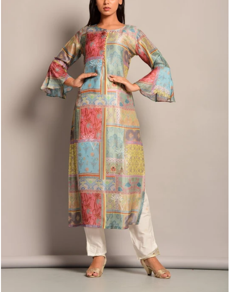 Green Printed Kurti For Women