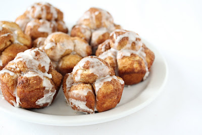 close-up of cinnamon bubble buns on a white plate