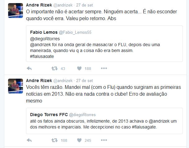 Pelo Twitter, André Rizek afirma que errou ao acusar o Fluminense em 2013