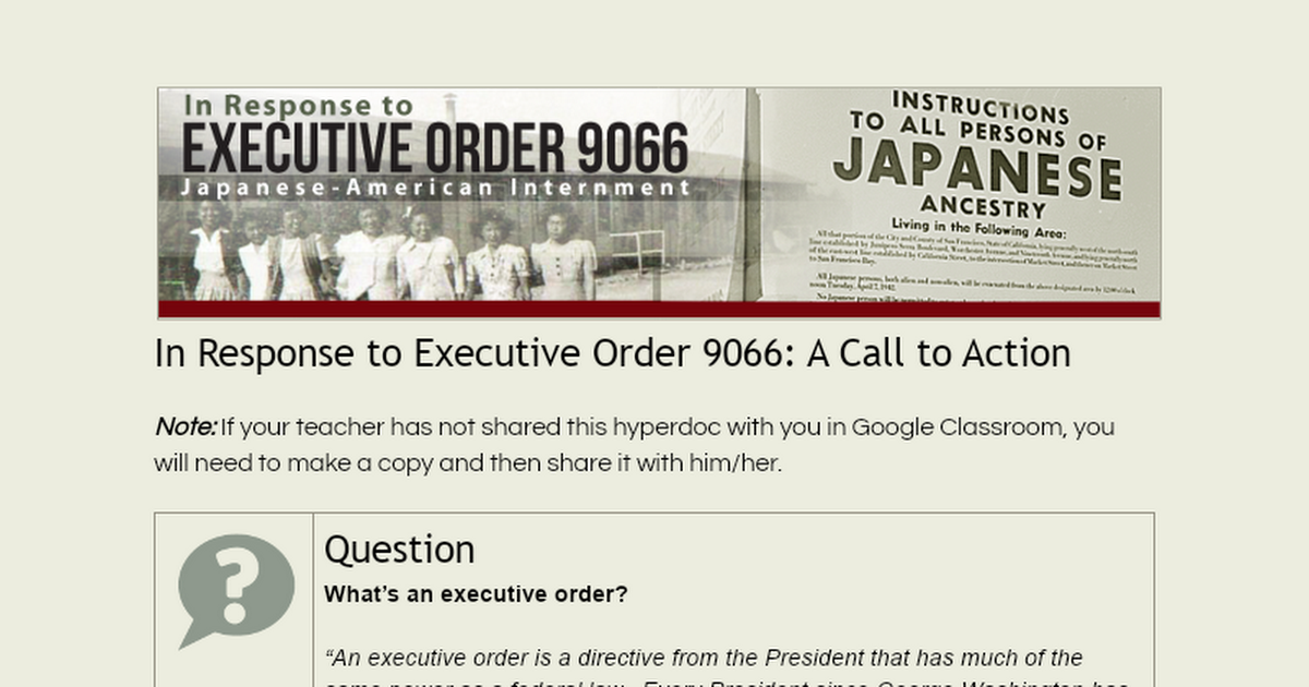 In response to executive order 9066 essay