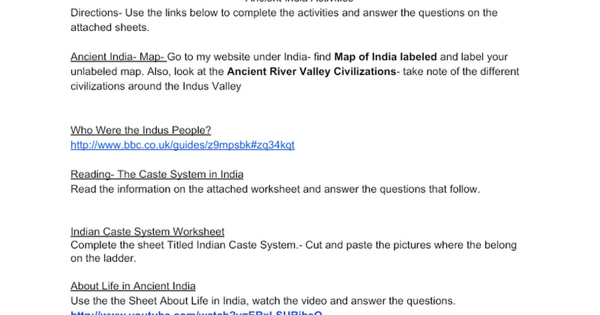 Ancient India Activities Google Docs