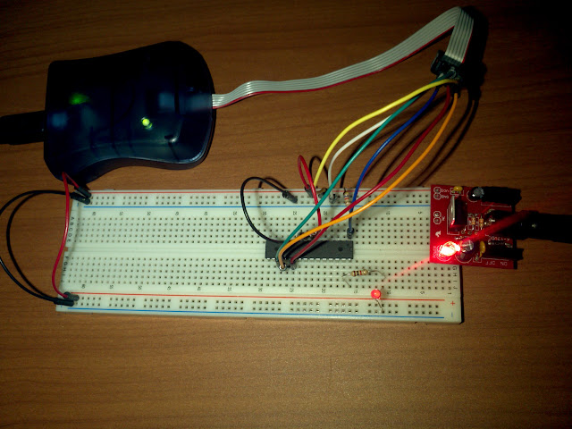 atmega328p microcontroller with red led
