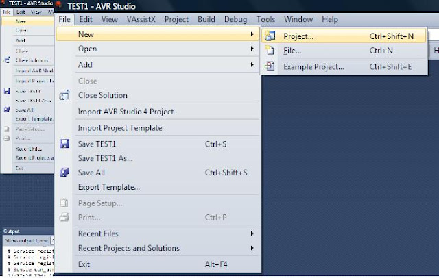 avr studio 5 new project menu