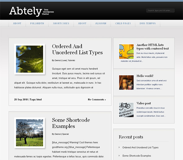 Abtely very clean and light WordPress Theme