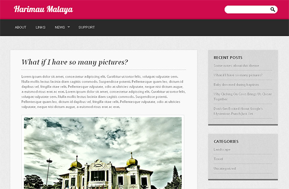 Harimau Malaya clean and free WordPress Theme