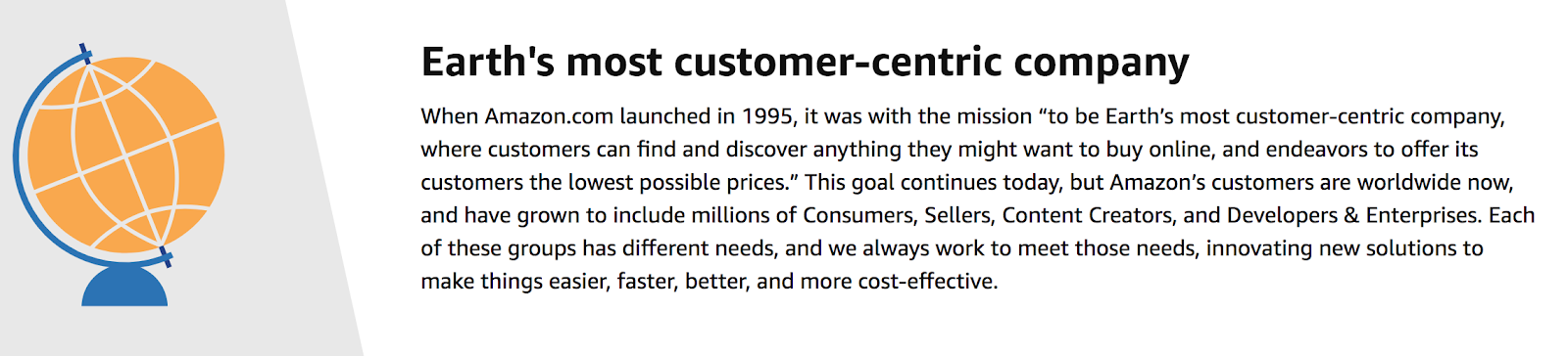 """Amazon positioniert sich als """"Earth's  most customer centric company""""."""