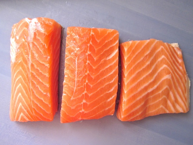 cut portions salmon