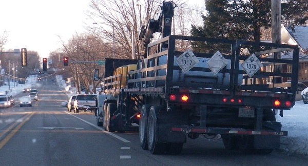 This truck went right through downtown.  1017 is chlorine, and 1079 is liquified sulfur dioxide.