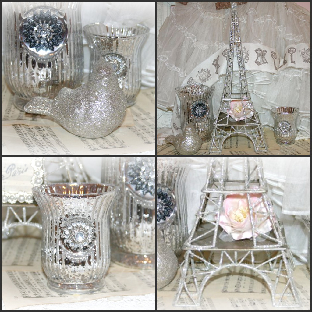 White, Glitter, Mercury Glass