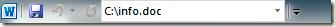 Vị trí file đang mở hiển thị trên Quick Launch Bar trong Office 2010