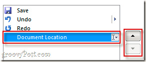 Sử dụng mũi tên lên xuống để thay đổi vị trí hiển thị của Document Location