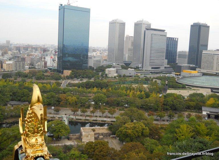 Vue sur la ville depuis le château d'Osaka