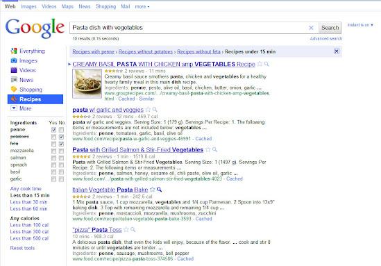 Google Suche: Rezepte