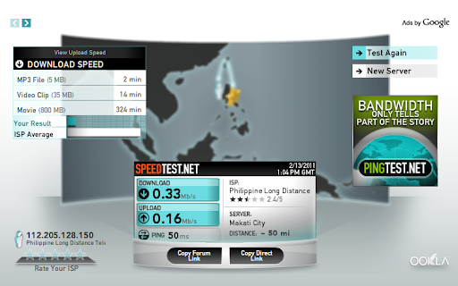 PLDT speed