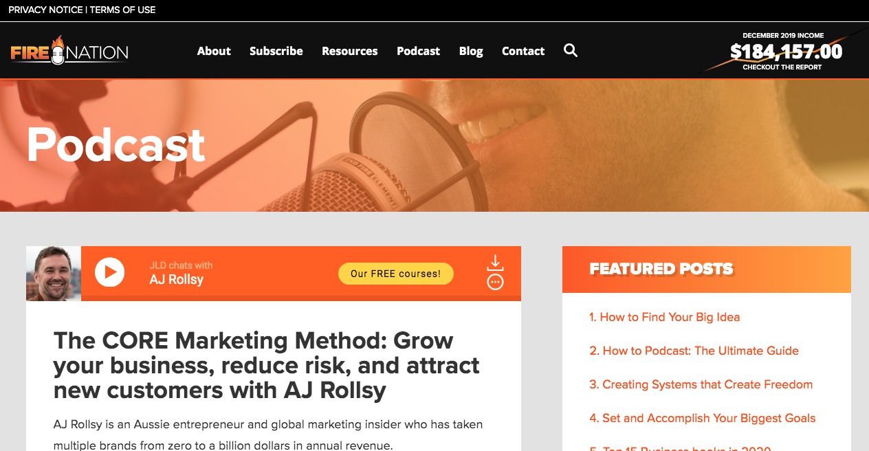 Entrepreneurs on Fire podcast landing page