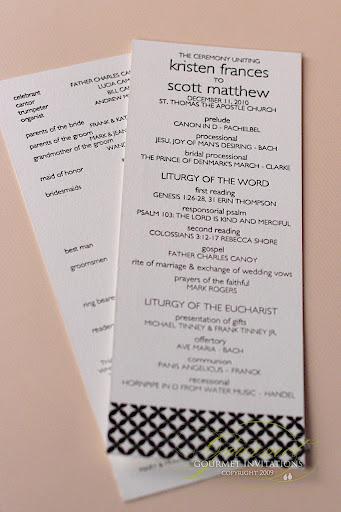 Wedding Reception Order Of Service | Modern Black And White Wedding Reception Gourmet Invitations
