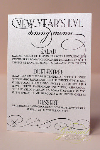 wedding menus, wedding dinner menu, new year's eve wedding menu