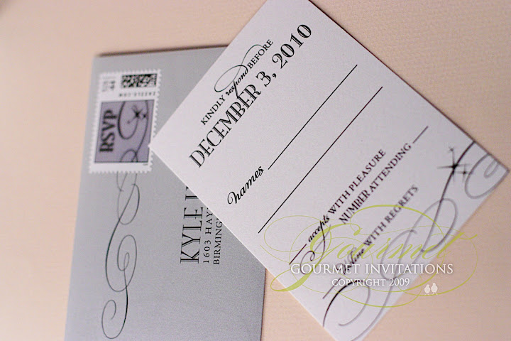 rsvp wedding card, rsvp envelope, silver envelopes, response custom stamps, rsvp postage