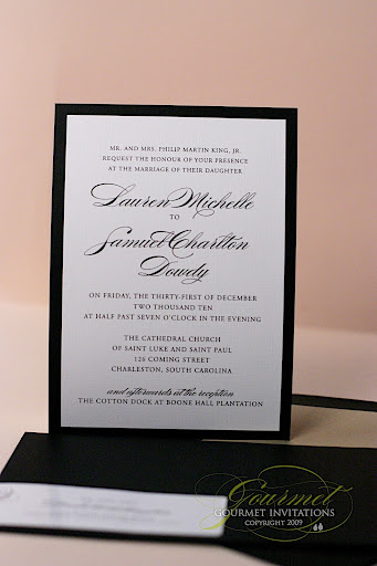 new year's eve wedding invitations, new year's eve theme wedding, thermography invitations, black and gold wedding invitations