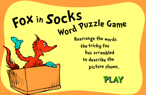 Seussville Game Dr Seuss Fox in Socks Word Puzzle Game
