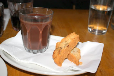Hot chocolate and biscotti comfort food at Polpo in London