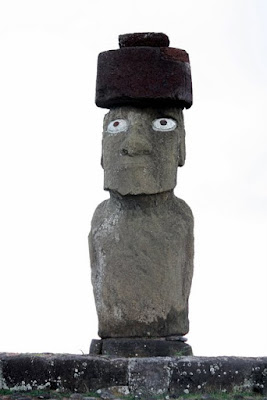 Easter Island moai statue with eyes