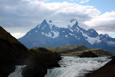 Mountain above a waterfall in Patagonia Chile